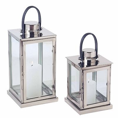 The Riado Windsor Grey Lantern Stainless Steel has a polished nickel finish and offers a sophisticated sleek twist on a traditional lantern. A must have for any contemporary space.