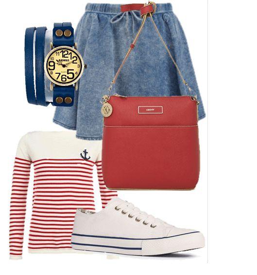 Белая футболка с длинными рукавами в красную полоску, джинсовая расклешенная юбка, белые кеды, розовая сумка и темно синие часы