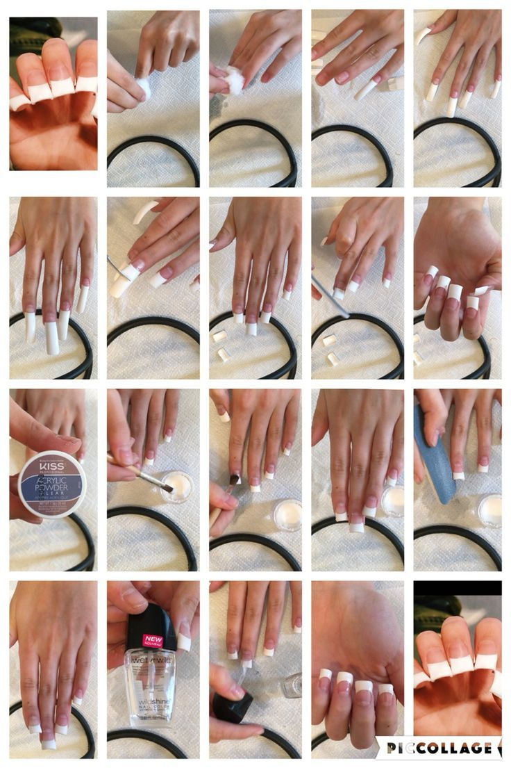 Step by step to how to do your own acrylics French tip