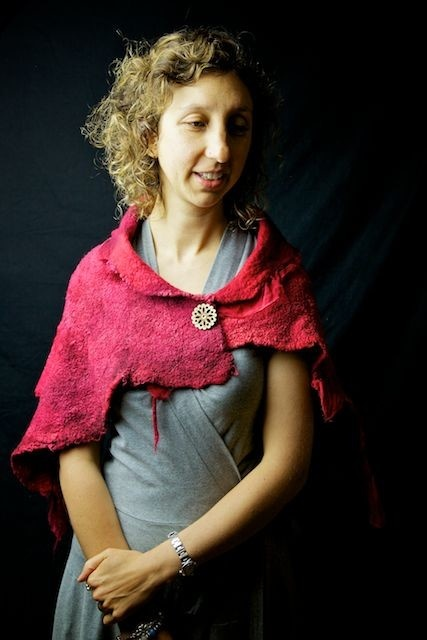 Stunning Hand Felted - Merino Wool and Pure Silk Wrap / Shawl / Throw - Red - by Gozobs on madeit