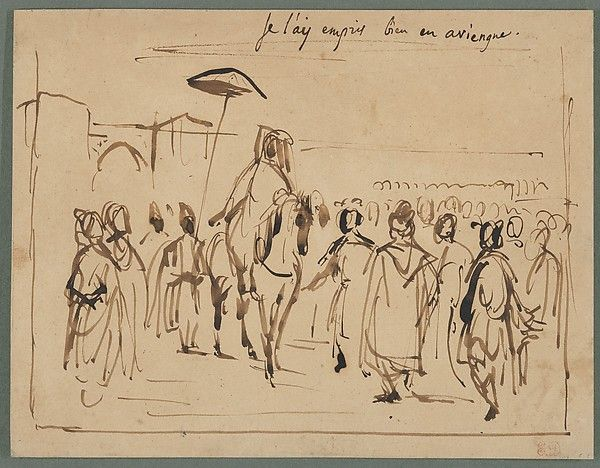 """Eugène Delacroix (French, 1798–1863). Study for """"The Sultan of Morocco and His Entourage,"""" ca. 1832–33. The Metropolitan Museum of Art, New York. Gift from the Karen B. Cohen Collection of Eugène Delacroix, in honor of Henri Loyrette, 2013 (2013.1135.20)   This work is on view in """"Drawings and Prints: Selections from the Permanent Collection"""" on view through December 8, 2014. #horses"""