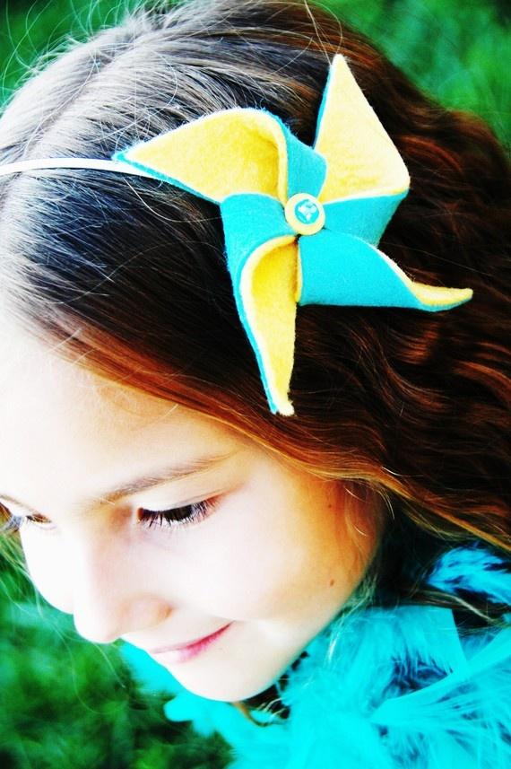 Headband Yellow Teal Pinwheel Carnival Turquoise Blue Wedding Birthday Party Circus Hair Accessories