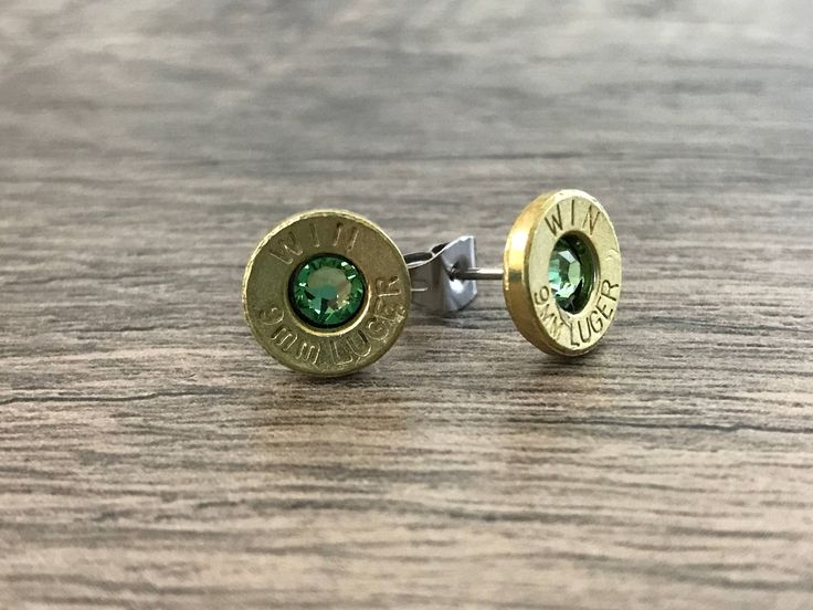 Bullet Shell Earrings, Bullet Jewelry, Peridot Earrings, Stud Earrings, Bridesmaid Jewelry, Birthstone Jewelry, Unique Gift, Ammo Jewelry by MissyJeansBoutique on Etsy https://www.etsy.com/listing/551157882/bullet-shell-earrings-bullet-jewelry