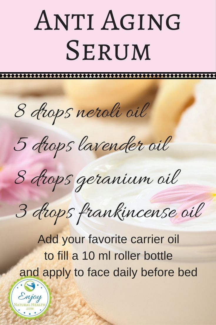 Turn back the clock with this anti aging serum made with just a few essential oils. Used daily, this anti aging EO blend will reduce fine lines, moisturize your skin and make you look and feel younger. Give it a try today!