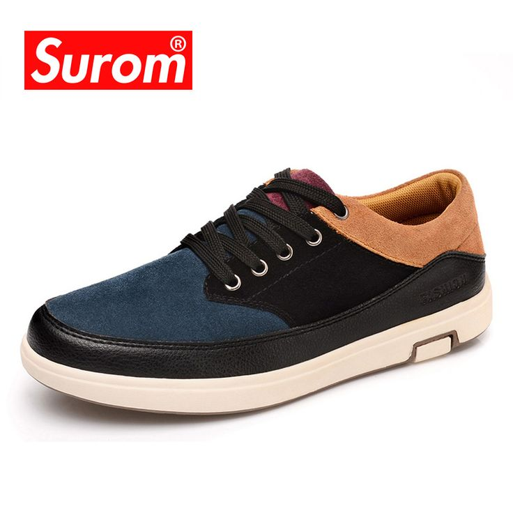SUROM 2018 Men's Leather Casual Shoes Suede Moccasins Men Loafers Patchwork Color Luxury Brand Male Shoes Sneakers for Men. Yesterday's price: US $25.46 (20.95 EUR). Today's price: US $25.46 (21.12 EUR). Discount: 62%.