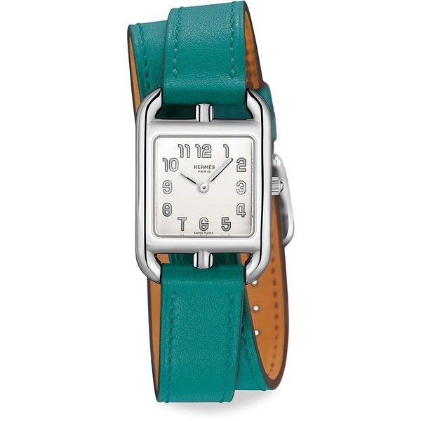 Hermès Watches Cape Cod Stainless Steel & Leather Double-Wrap Watch (€2.435) ❤ liked on Polyvore featuring jewelry, watches, green watches, fine jewellery, green bezel watches, green jewelry and leather jewelry
