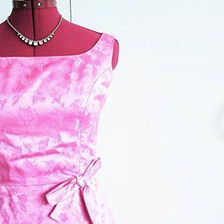 1960s silk floor length dress with bow