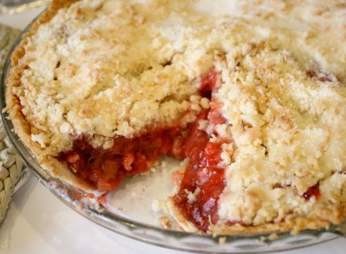 Strawberry Rhubarb Pie is a perfect combination for a delicious dessert, a little tart and very sweet. It's just begging to be made for Mother's day!
