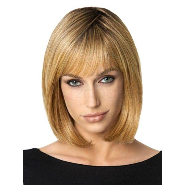 Blondes haar damen hochtemperaturfaser dünne ordentlich bang bob volle perücken gerade schulterlangen perücke mit atmungsaktivem mesh cap diese kurze bob perücke mit …