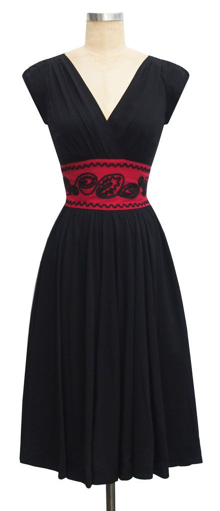 trashy diva soutache sandy dress red waist black rayon contrast detail retro cocktail slimming dress gathered skirt @Rebecca Taylor