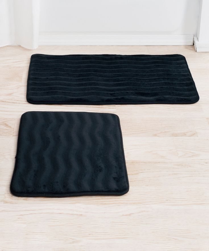 Black Memory Foam Bath Mat - Set of Two
