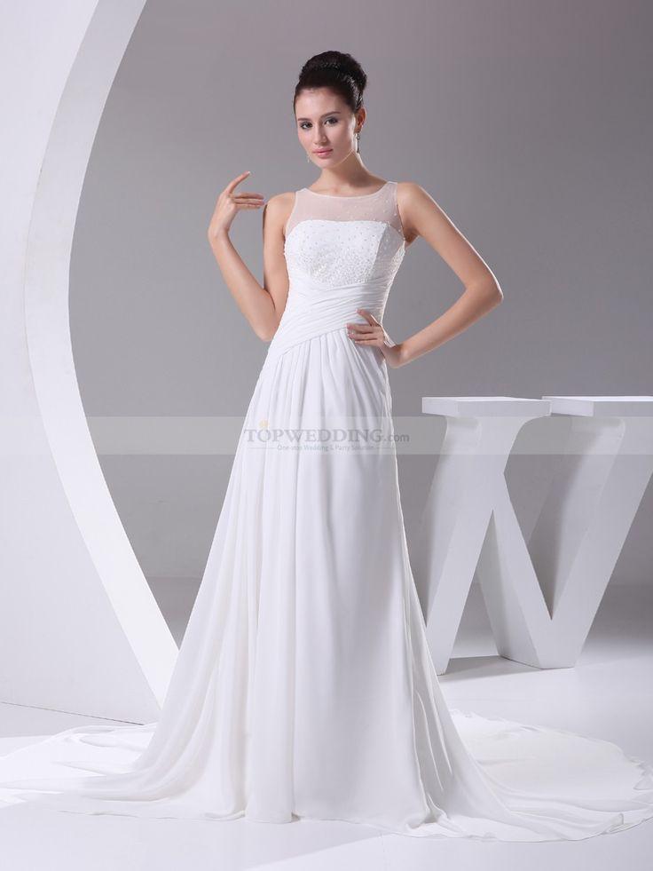 Milissa - Simple Chiffon Wedding Dress with Beaded Sheer Top