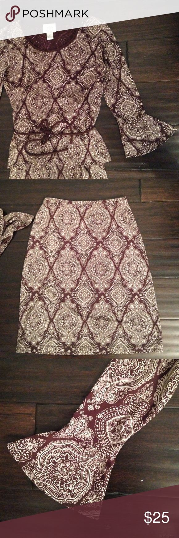 Ann Taylor Loft brown print skirt outfit - XSP 100% polyester, machine washable, CUTE brown and white skirt set. Shirt comes with belt and has adorable bell sleeve finished. Skirt is straight...easy outfit to throw on. LOFT Skirts Mini