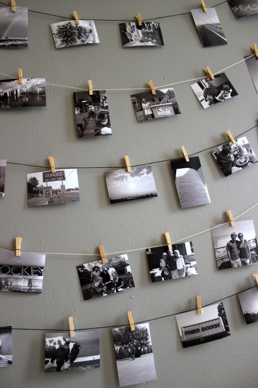 picture display, w glittered clothespins and more of a straight line (OCD!), and maybe 2 clothespins per pictures..