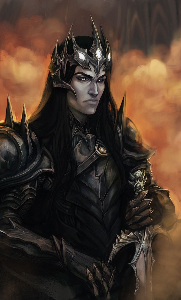 "Melkor - ""the who arises in might""; the First Dark Lord; the first of the Ainur to be created by Eru Ilúvatar and the one who created discord in the Music of the Ainur; the spiritual brother of Manwë, he was the most powerful of the Valar, as he possessed all aspects of Eru's thought, whereas the others each possessed only some; he turned to evil, and was taken back to Valinor in the chain Angainor after the Awakening of the Elves in Cuiviénen;"
