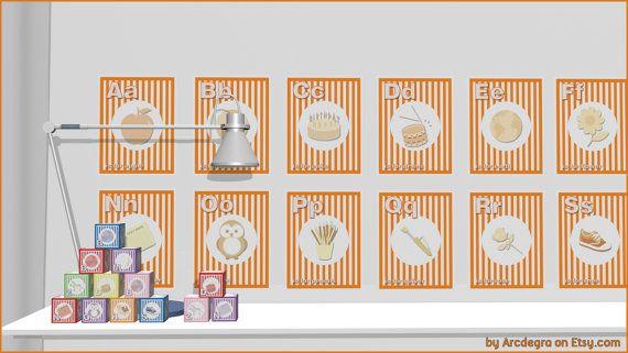 Orange Digital flashcards  Alphabet  Printable Toys by ArcDeGra
