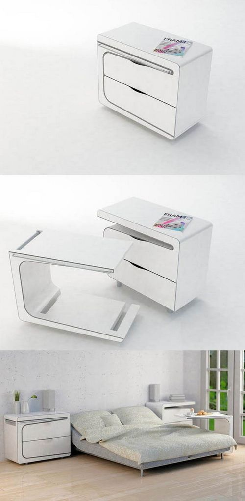 Smart  Night stand with built in slide out bedside table. 26 best images about Smart Furniture on Pinterest   Furniture