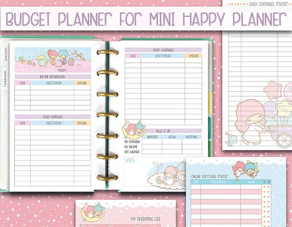 mini happy planner printable inserts Budget planner kawaii