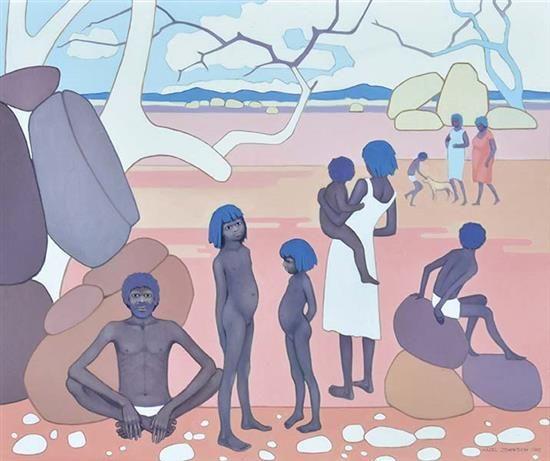HAZEL JOHNSON (BORN 20TH CENTURY) Australian Figurescape 1988 oil on canvas