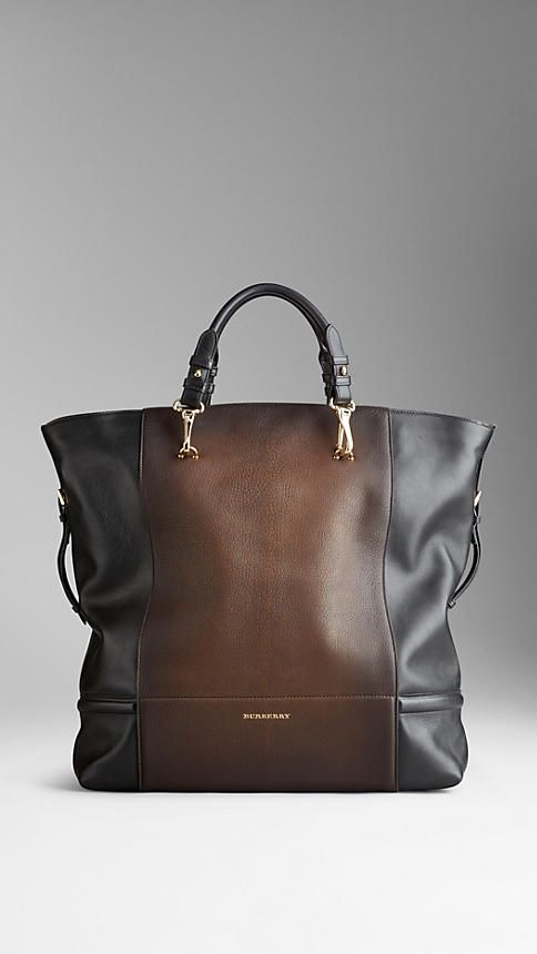 A chic shopper lined in Burberry plaid.Burberry Large Degradé Brushed Leather Tote Bag,