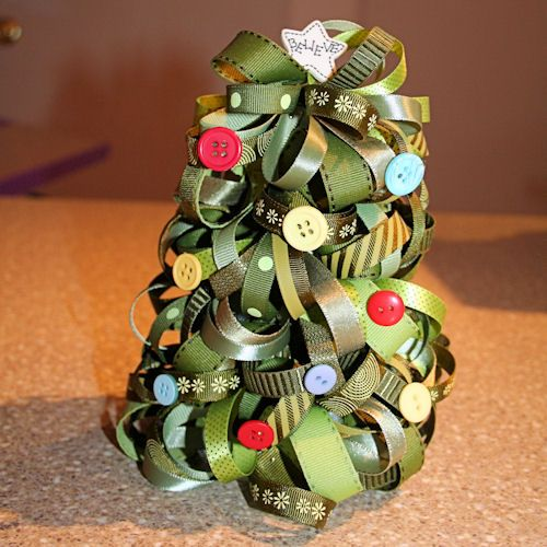 Ribbon Christmas Tree Craft: How to Make a Christmas Tree Out of Ribbon