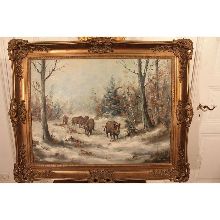 """Antik Öl Gemälde Schneelandschaft """"Wildschweine"""" Signiert Stichler Barock Rahmen"""