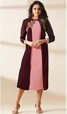 Mistyrose Color Georgette Embroidered Readymade Kurtis | FH587886508