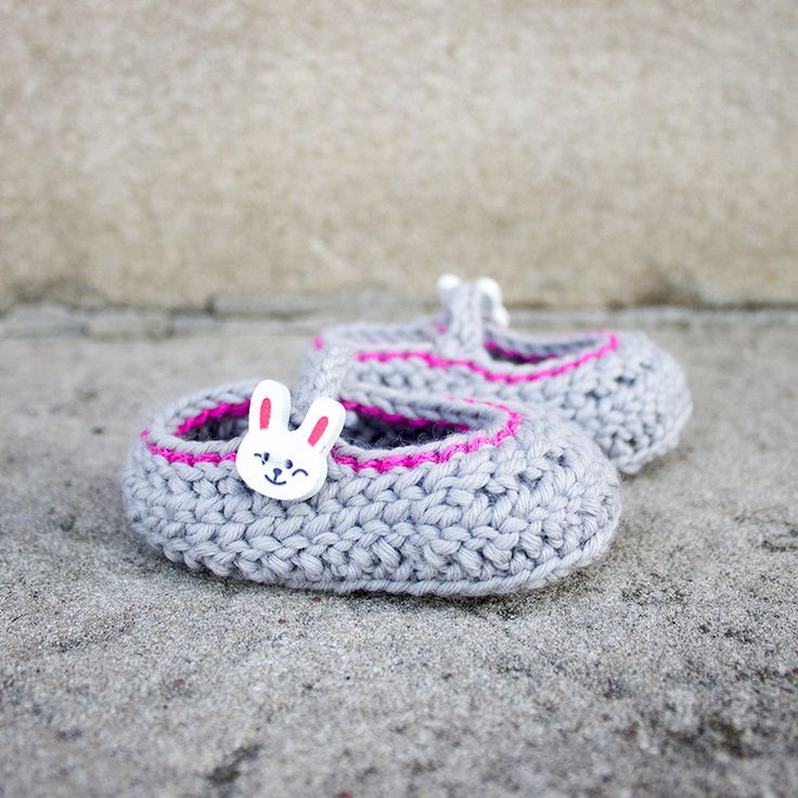 Extra Soft Crochet Baby Bunny Mary Jane Booties 0-3M: Gray Pearl K1017 by KorkeKids on Etsy