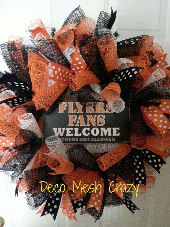 Philadelphia Flyers Curly Deco Mesh Sports Wreath by DecoMeshCrazy, $42.00