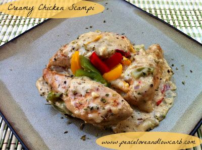 Creamy Chicken Scampi - This looks amazing, easy and like a real keeper. Note to self, add portabellas and skip the green pepper!