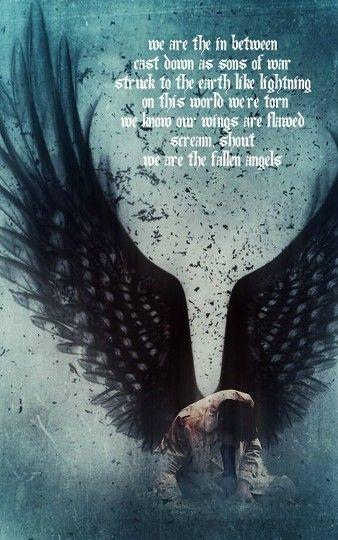 "Castiel fan art with lyrics from ""Fallen Angels"" by Black Veil Brides - one of my favorite songs! XD"