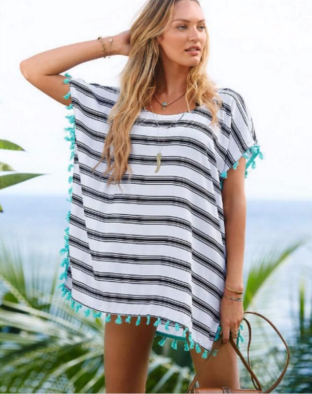 Loose Tassel Cover Up Pattern Type: Striped Material: Polyester