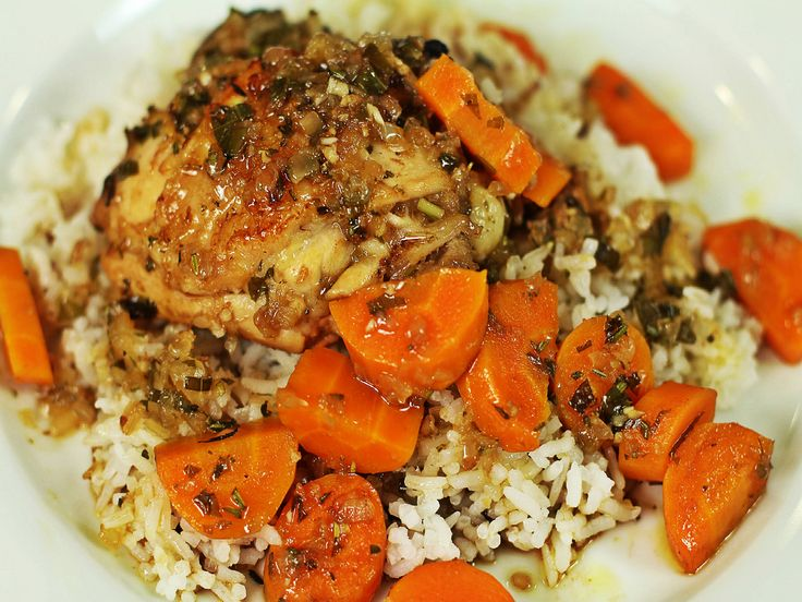 This lemon herb roasted chicken is fashioned after Cheesecake Factors dish. Its served with carrots over a bed of rice. GETTING READY Preheat the oven to 425 degrees F. In a Ziploc