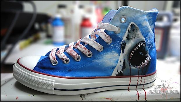Great White Shark Custom All Star Shoes by @FreakerSneaks