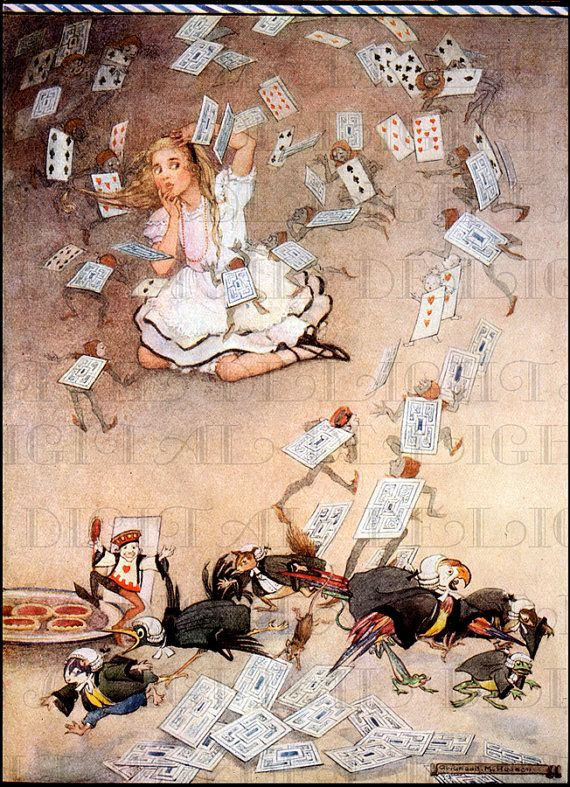From FIRST Edition. They All Turned Into Cards. Gwyneth Hudson Art Deco ALICE in Wonderland Digital Download. VINTAGE Alice Illustration.
