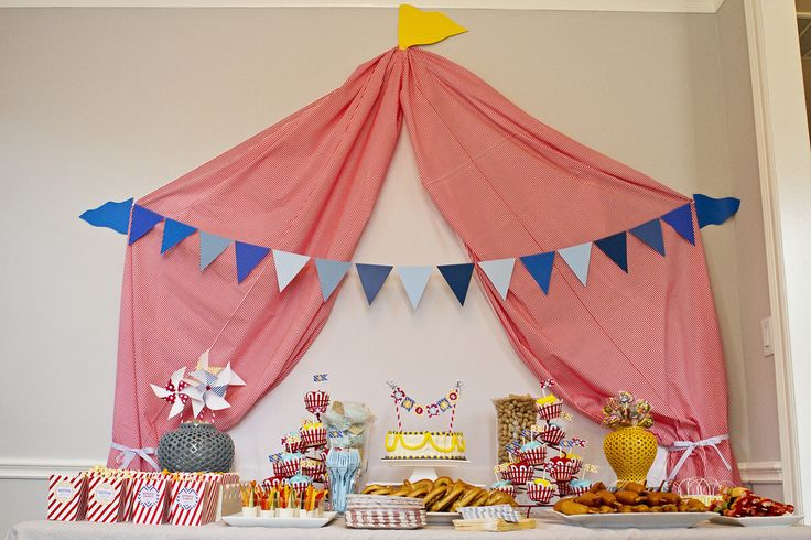 Use a sheet to create the illusion of a party tent for a circus-themed party