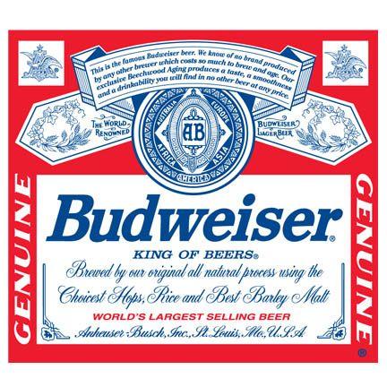 Budweiser Label Vinyl Decal