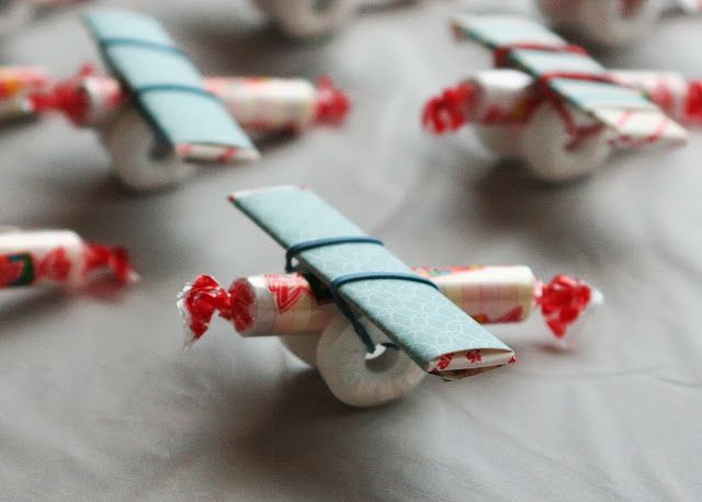 Candy airplanes--used Vday stamp on pink paper as a Valentine craft, would be great to stamp 7 on orange paper for Dusty party