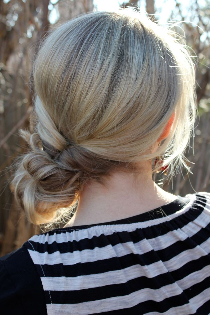 Topsytail into a messy bun - great way to make something fast and easy look so elegant