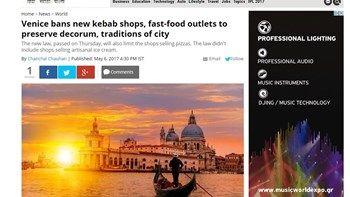 Απαγορεύεται δια νόμου το σουβλάκι και το κεμπάμπ στη Βενετία   Οι τοπικές αρχές της Βενετίας απαγόρευσαν δια νόμου το άνοιγμα νέων καταστημάτων που θα πωλούν σουβλάκια κεμπάμπ και γενικότερα έτοιμο φαγητό σε μια προσπάθεια να διατηρήσει η πόλη τον γραφικό της χαρακτήρα... from ΡΟΗ ΕΙΔΗΣΕΩΝ enikos.gr http://ift.tt/2qEr8dm ΡΟΗ ΕΙΔΗΣΕΩΝ enikos.gr
