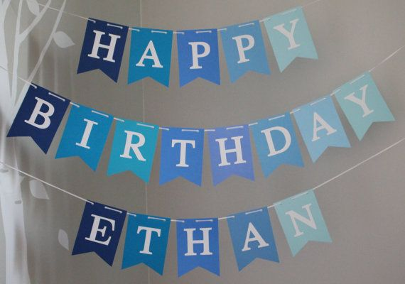 Happy Birthday banner, Personalized Happy Birthday Banner, Custom Birthday Banner, Boy Birthday Banner, Blue Banner, Little Blue Truck