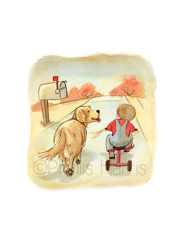 Golden Retriever And Little Boy On Tricycle Wall Art