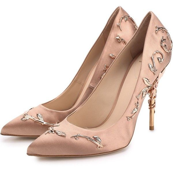 Атласные туфли Eden с металлической отделкой на шпильке Ralph Russo ❤ liked on Polyvore featuring shoes, pumps, ralph, satin shoes, satin pumps and ralph shoes