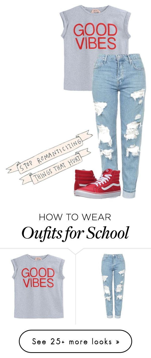 """""""Back to School!"""" by corabellsg on Polyvore featuring N°21, Topshop and Vans"""
