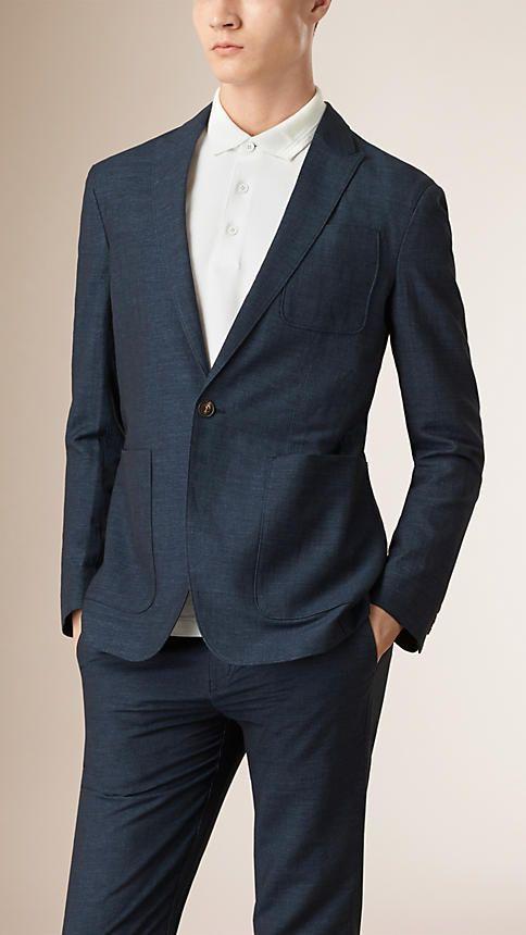 Navy Slim Fit Linen Cotton Blazer - Image 1