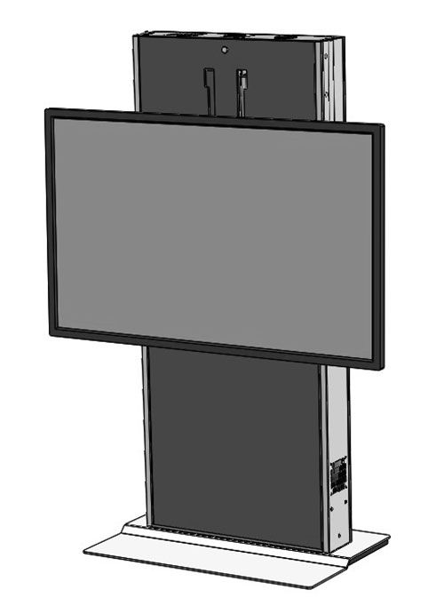 The LFT7000FS-S heavy duty fixed lift for single large TV's and interactive displays. Featuring a fixed weighted base ideal for open areas and digital signage. Ideal for environments where adjustable height or ADA is required.