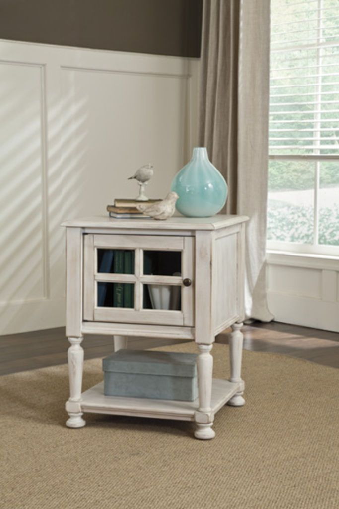 Ashley Furniture Signature Design Cottage Accents Chair Side End Table Chipped White ChairsLiving Room