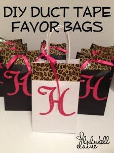 DIY duct tape  favor bags what a great idea just using a simple  paper bag and sprucing it up cheetah print duct tape I love this idea