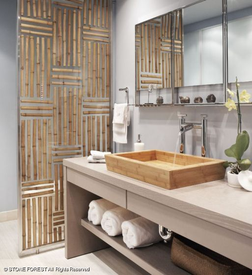Private Residence Dallas, TX - Large Moso Bamboo Vessel by Stone Forest