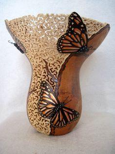 Joanna Helphrey / Handcrafted Gourd Lamps (butterflies)